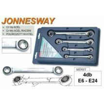 Jonnesway Profi Racsnis Torxkulcs Készlet E6-E24 / 4db-os