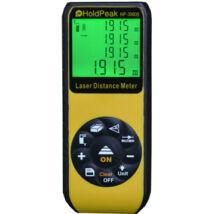 HOLDPEAK 3060B Digitális, lézeres távolságmérő, 0.05-60m, memória, terület/térfogat és háromszög, IP52