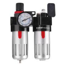"""Extol levegőelőkészítő (légszűrő nyomásszabályozóval, olajozóval és manométerrel), max. 8 Bar, 1/4"""", max. 60°C, 90ml szűrő, 90ml olajzó"""