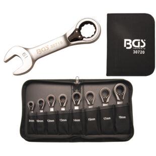 BGS-30720 Csillag-villás kulcs készlet racsnis rövid 8 részes, 8 - 19 mm