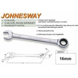 Jonnesway Profi Racsnis Csillag-Villáskulcs 16mm