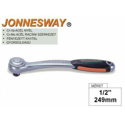 """Jonnesway Profi Racsnis Hajtókar 1/2"""" / 249mm / 72fog / Hajlított"""