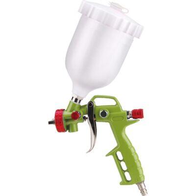 Extol festékszóró pisztoly légkompresszorhoz, 700ml műanyag tartály, 1,5mm szórónyílás, 4 Bar (0,4 MPa) nyomás,