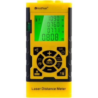 HOLDPEAK 3060 Digitális, lézeres távolságmérő, 0.05-60m, memória, terület/térfogat és háromszög