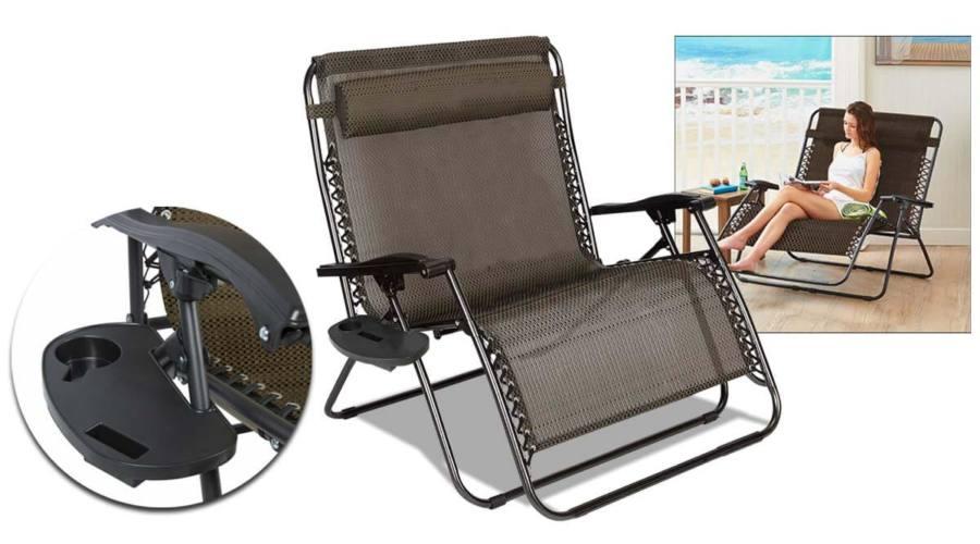Kétszemélyes zéró gravitáció kerti szék, 2db ajándék pohártartóval